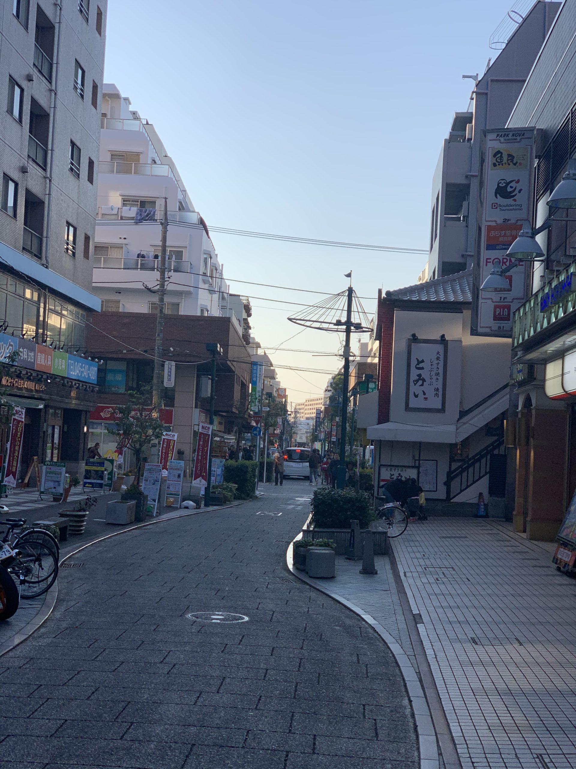 綱島駅前の商店街にあるパデュ通りの画像です